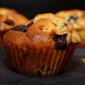 Muffins de mirtilo e chocolate branco